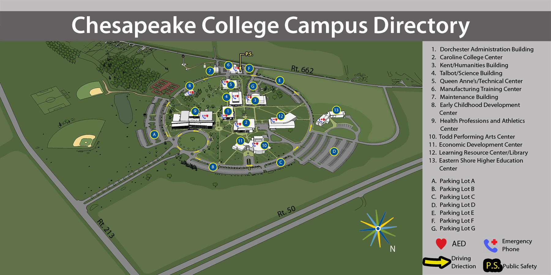 Map of Chesapeake College Campus